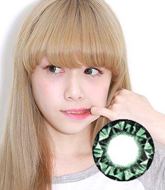 【1年カラコン】 Diamond Green / 027</BR>DIA:15.0mm, 度あり‐8.00まで