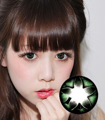 【1年カラコン】 Secret big star(CF) Green / 075</BR>DIA:14.5mm, 度なし