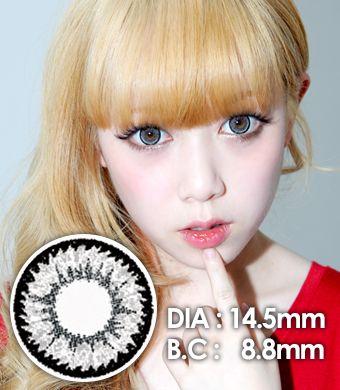 【1年カラコン】Tiffany Gray / 202</BR>DIA:14.5mm,15.0mm,  度あり‐10.00まで