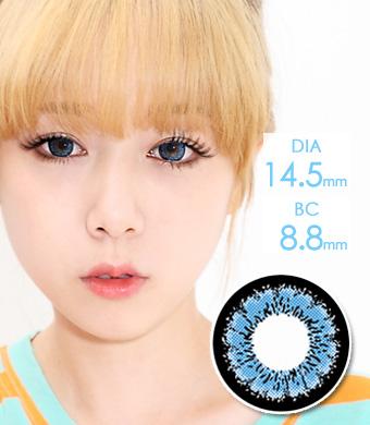 【6ヶ月カラコン】 Emily(X4) Blue / 168</BR>DIA:14.5mm, 度あり‐10.00まで
