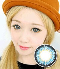 【1年カラコン】Coco 3-tone color Blue / 154</BR>DIA:14.5mm, 度なし