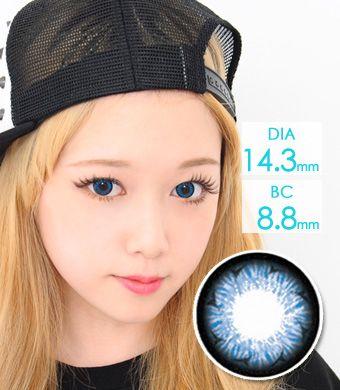 【1年カラコン】Rachel(Y33) Blue / 137</BR>DIA:14.3mm, 度なし