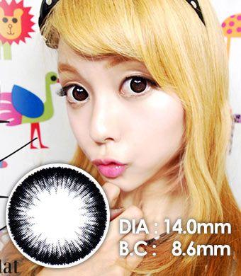 【1年カラコン】Top plus Black  / 040</BR>DIA:14.0mm, 度あり‐8.00まで