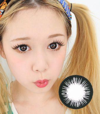 【1年カラコン】Aurora Black / 142</BR>DIA:14.5mm, 度あり‐10.00まで