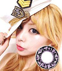 【1年カラコン】VASSEN DIAMOND VIOLET/ 028</BR>DIA:15.0mm, 度あり‐8.00まで