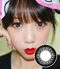 【1年カラコン】Hannah(ML12) Black / 163</BR>DIA:14.5mm, 度あり‐8.00まで