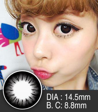 【1年カラコン】Bella(e22) Black / 222</BR>DIA:14.5mm, 度あり‐8.00まで