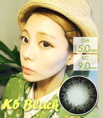 【1年カラコン】K5 Black / 227</BR>DIA:15.0mm, 度あり‐10.00まで