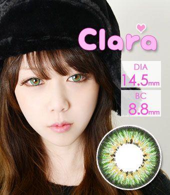 【1年カラコン】Clara Green / 241</BR>DIA:14.5mm, 度あり‐10.00まで