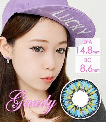【1年カラコン】Gaudy Blue / 663</BR>DIA:14.8mm, 度あり‐8.00まで