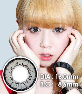 【1年カラコン】 Fairy Dolly Gray / 636</BR>DIA:16.0mm, 度あり‐8.00まで