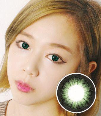 【1年カラコン】Frances OS9 Green / 723</BR>DIA:14.5mm, 度あり‐10.00まで