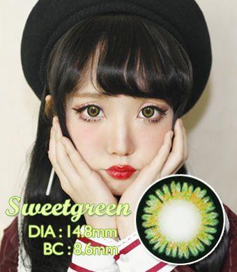 【1年カラコン】Sweet 3 Green / 667</BR>DIA:14.8mm, 度あり‐7.00まで