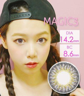 【1年カラコン】Tri color magic 3-tone Gray  / 1206</BR>DIA:14.2mm, 度あり‐8.00まで