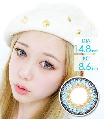 【1年カラコン】Cherie Blue / 660</BR>DIA:14.8mm, 度あり‐8.00まで