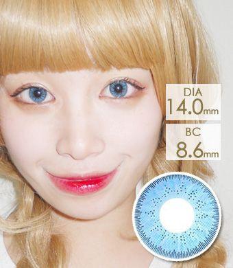 【1年カラコン】Bling Bling GBT Sky Blue / 1234</BR>DIA:14.0mm, 度あり‐10.00まで