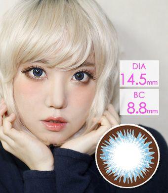 【1年カラコン】Denise  Blue (VF) / 1206</BR>DIA:14.5mm, 度あり‐10.00まで