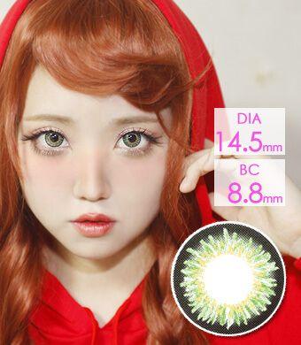【1年カラコン】CoCo Green (JB12) / 1210</BR>DIA:14.5mm, 度あり‐10.00まで