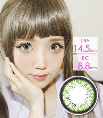 【1年カラコン】Skinny Hezle green / 1211</BR>DIA:14.5mm, 度あり‐10.00まで