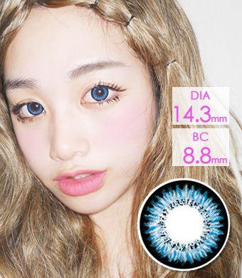 【1年カラコン】Audrey Blue (AB200) /1214</BR>DIA:14.3mm, 度あり‐10.00まで