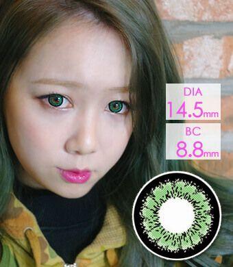 【1年カラコン】EMILY Green (OS1) / 1229</BR>DIA:14.5mm, 度あり‐10.00まで