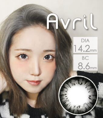 【1年カラコン】Avril (A132) Gray / 1243</br>DIA:14.2mm, 度あり‐8.00まで