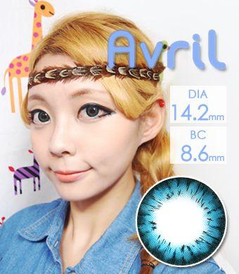 【1年カラコン】Avril (A132) Blue / 1246</br>DIA:14.2mm, 度あり‐12.00まで