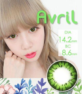 【1年カラコン】Avril (A132) Green / 1247 </br>DIA:14.2mm, 度あり‐8.00まで