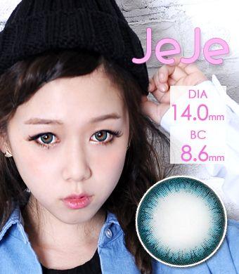 【1年カラコン】JeJe Blue / 1250</br>DIA:14.0mm, 度あり‐12.00まで