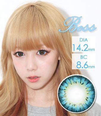 【1年カラコン】Bess (A133) Blue / 1256</br>DIA:14.2mm, 度あり‐12.00まで