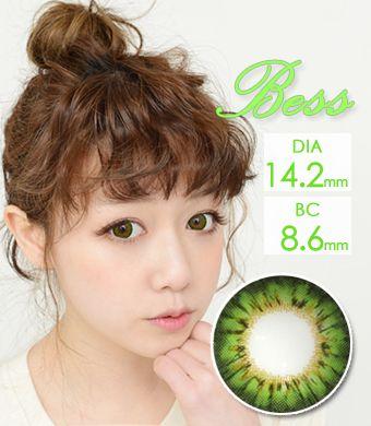 【1年カラコン】Bess (A133) Green / 1257</br>DIA:14.2mm, 度あり‐12.00まで