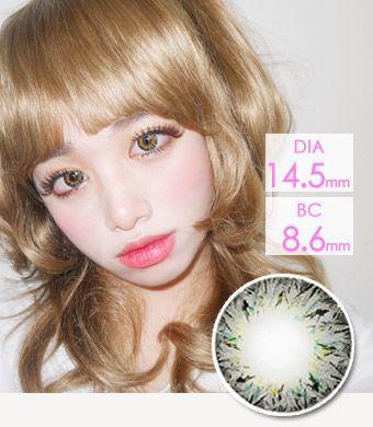 【1年カラコン】 VILLEA Gray /1263</br>DIA:14.5mm, 度あり‐8.00まで
