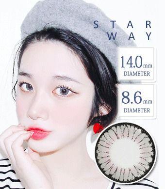 【1年カラコン】STARWAY GRAY / 1347 </BR>DIA:14.0mm, 度あり‐8.00まで
