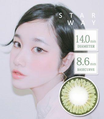 【1年カラコン】スターウェイ Green  / 1348 </BR>DIA:14.0mm, 度あり‐8.00まで
