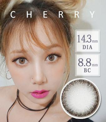 【1年カラコン】Cherry gray / 1406</BR>DIA:14.3mm, 度あり‐10.00まで