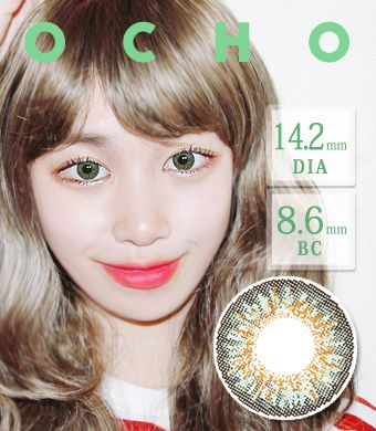 【1ヶ月カラコン/シリコンハイドロゲル】オーチョOCHO GREEN Silicon Hydrogel / 1418</BR>DIA:14.2mm, 度あり‐8.00まで