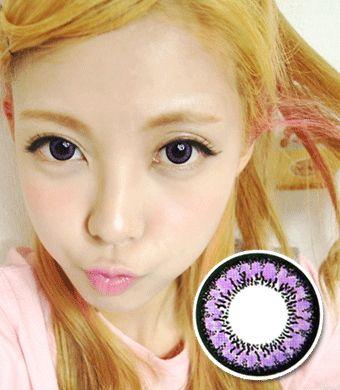 【6-12ヶ月カラコン】  Uni Twocolor Violet / 509</BR>DIA:14.0mm, 度あり‐14.00ま