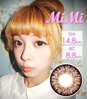 【1年カラコン】MIMI Brown / 003</BR>DIA:14.8mm, 度あり‐8.00まで
