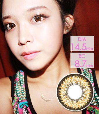 【1年カラコン】 2 Tone Brown (XCH624) / 011</BR>DIA:14.5mm, 度あり‐8.00まで