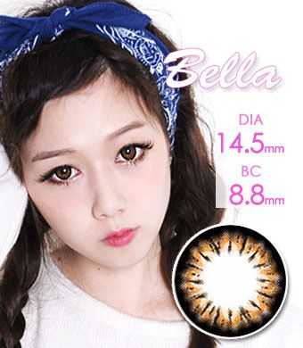 【1年カラコン】Bella(e22) Brown/ 220</BR>DIA:14.5mm, 度あり‐8.00まで