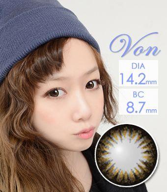 【1年カラコン/ シリコーンハイドロゲル】Von Brown / 604 </BR>DIA:14.2mm, 度あり‐10.00まで
