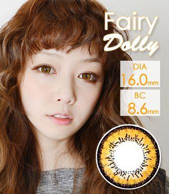 【1年カラコン】 Fairy Dolly Brown / 611</BR>DIA:16.0mm, 度あり‐8.00まで
