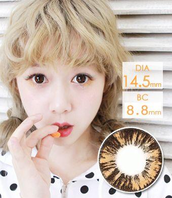 【1年カラコン】New Cara Brown / 640</BR>DIA:14.5mm, 度あり‐8.00まで