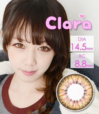 【1年カラコン】Clara Brown / 240</BR>DIA:14.5mm, 度あり‐10.00まで