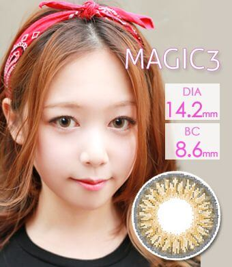 【1年カラコン】Tri Color Magic 3color Brown / 1027</BR>DIA:14.2mm, 度あり‐8.00まで