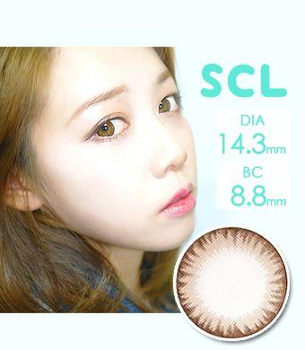 【1年カラコン/シリコンハイドロゲル】Scl Brown / 1077</BR>DIA:14.3mm, 度あり‐10.00まで