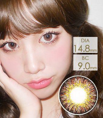 【1年カラコン】Sweet Big C type Brown / 1142</BR>DIA:14.8mm, 度あり‐10.00まで