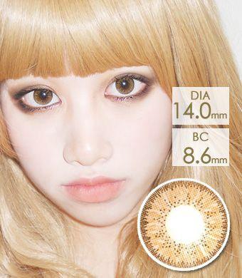 【1年カラコン】Bling Bling BT Brown / 1232</BR>DIA:14.0mm, 度あり‐10.00まで