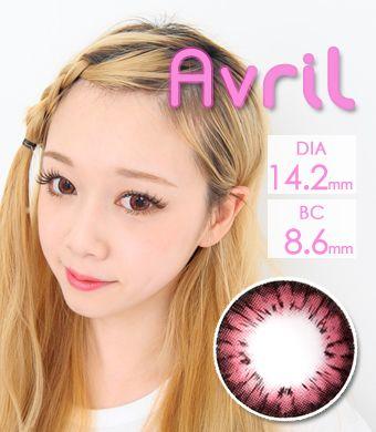 【1年カラコン】Avril (A132) Pink / 1245</br>DIA:14.2mm, 度あり‐8.00まで