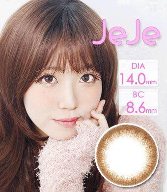 【1年カラコン】JeJe Brown / 1248</br>DIA:14.0mm, 度あり‐12.00まで